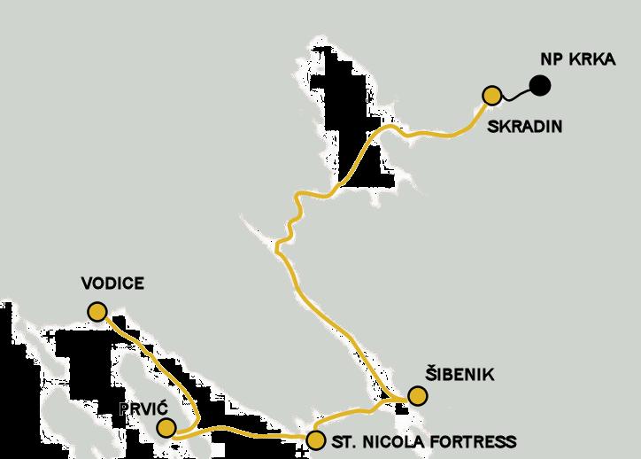 Archipelago Tours boat tour - map Krka National Park boat tour