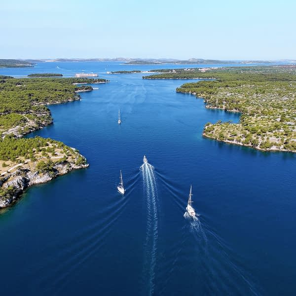 Archipelago Tours Croatia Sibenik boat tour - St Anthony Channel in front of Sibenik photo taken from the air